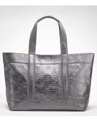 Tory Burch | Metallic Embossed Tory Beach Tote | Lyst