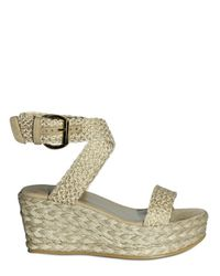Stuart Weitzman - Metallic 70mm Crochet Espadrille Wedges - Lyst