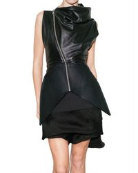 Rick Owens | Black Souffle and Rigid Leather Vest | Lyst