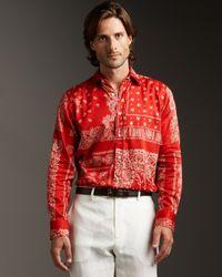 Etro | Red Bandana-print Woven Shirt for Men | Lyst