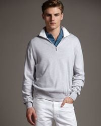 Loro Piana | Summer Zip Sweater, Light Gray for Men | Lyst