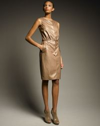 Loro Piana | Brown Reika Plonge Leather Dress | Lyst