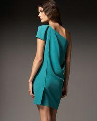 Roland Mouret | Green Cascada One-shoulder Crepe Dress | Lyst