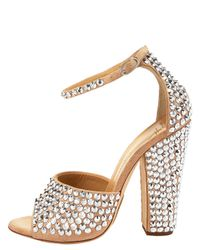 Giuseppe Zanotti | Metallic Crystal-embellished Suede Sandals | Lyst