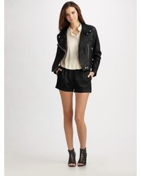 Acne | Black Rita Leather Biker Jacket | Lyst