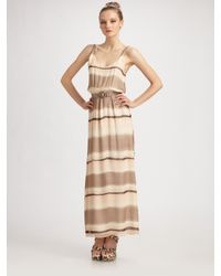 Alice + Olivia | Brown Blouson Maxi Dress | Lyst