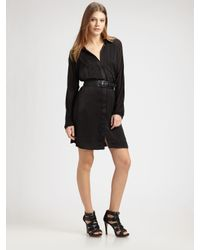BCBGMAXAZRIA | Black Luxe Satin Cargo Shirtdress | Lyst