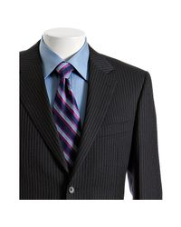 Canali | Blue Navy Stripe Wool 2-button Suit with Flat Front Pants for Men | Lyst