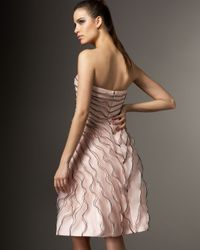 Carmen Marc Valvo - Pink Rose-detail Cocktail Dress - Lyst