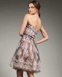 Carolina Herrera - Pink Lace Corset Dress - Lyst