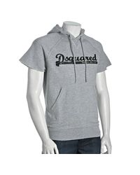 DSquared² - Gray Grey Cotton Logo Print Short Sleeve Hoodie for Men - Lyst