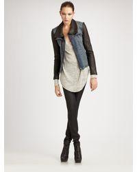 Helmut Lang | Blue Leather & Denim Combo Jacket | Lyst