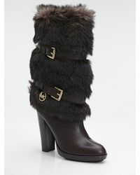 MICHAEL Michael Kors | Brown Carly Faux Fur & Leather Boots | Lyst
