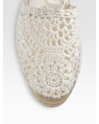 Ralph Lauren Collection - Natural Crocheted Ankle Tie Espadrilles - Lyst