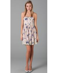 Rebecca Taylor Pink Strapless Lily Of The Valley Dress