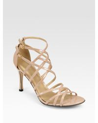 Stuart Weitzman | Natural Strappy Patent Leather Sandals | Lyst