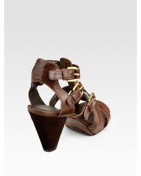 Stuart Weitzman | Brown Gadgetry Buckle Sandals | Lyst