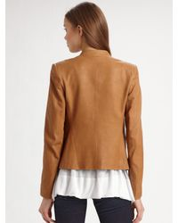 Theory - Brown Lanai Open Leather Jacket - Lyst