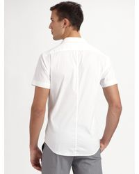 Theory | White Mario Wealth Stretch Poplin Sportshirt for Men | Lyst