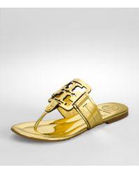 Tory Burch | Metallic Square Miller Sandal | Lyst