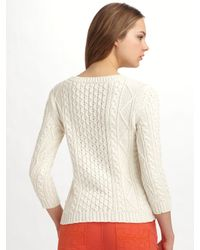 Tory Burch - White Alani Cable-knit Sweater - Lyst