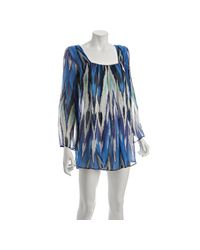 Alexis | Sky Blue Silk Chiffon Pleated Coverup Tunic | Lyst