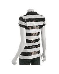 Alice + Olivia - Black Stripe Sequin Polo Shirt - Lyst