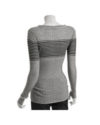 Autumn Cashmere | Gray Cloud Ribbed Ombré Striped Cashmere Henley | Lyst