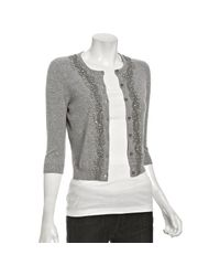 Autumn Cashmere - Gray Gravel Cashmere Beaded Cardigan Sweater - Lyst
