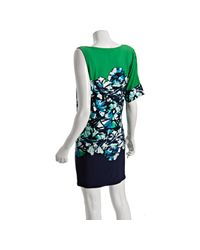 BCBGMAXAZRIA - Green Jersey Floral Printed One-shoulder Dress - Lyst