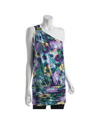 BCBGMAXAZRIA | Purple Pixel Floral Print One Shoulder Tunic | Lyst