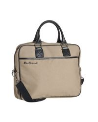Ben Sherman | Natural Taupe Canvas Laptop Messenger Bag for Men | Lyst
