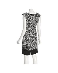 Calvin Klein | Black Block Printed Pleated Sheath Dress | Lyst