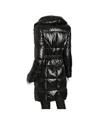 Calvin Klein | Shiny Black Belted Three Quarter Down Coat | Lyst
