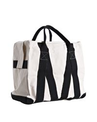 Comme des Garçons - White Ivory Canvas Black Striped Duffel Bag for Men - Lyst