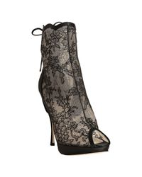 Dior | Black Lace Favorite Corset Detail Peep Toe Booties | Lyst