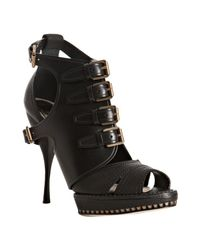 Dior | Black Leather Cavaliere Buckle Sandals | Lyst