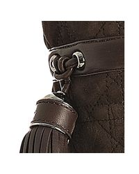 Dior - Brown Suede Cannage Pompon Shearling Tall Boots - Lyst