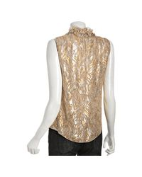 Elie Tahari | Gold Metallic Embroidered Chiffon Sleeveless Blouse | Lyst