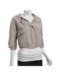 Eryn Brinie - Gray Light Grey Poly Hooded Cropped Rain Jacket - Lyst