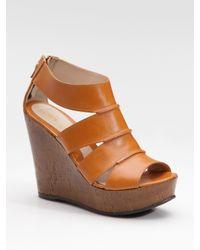 Fendi | Brown Wide-strap Cork Wedge Sandals | Lyst