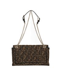 Fendi | Brown Quilted Zucca Canvas Baguette Shoulder Bag | Lyst