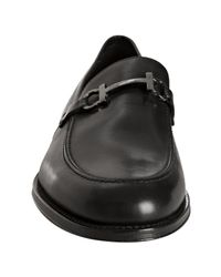 Ferragamo - Black Leather Firenze Gancini Buckle Loafers for Men - Lyst