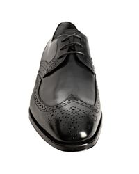 Ferragamo | Black Romeo Oiled Leather Brogue Derby Shoes for Men | Lyst