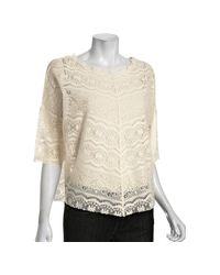 Free People - White Ivory Lace Audrina Scalloped Dolman Top - Lyst
