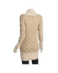 Free People - Natural Sand Wool Pointelle Log Cabin Long Cardigan Sweater - Lyst