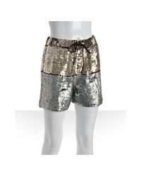 Gryphon | Metallic Gold and Silver Colorblock Sequin Shorts | Lyst