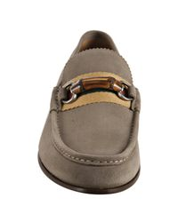Gucci | Natural Gravel Suede Bamboo Web Loafers for Men | Lyst
