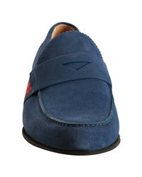 Gucci - Blue Indigo Suede Stripe Trim Penny Loafers for Men - Lyst