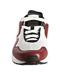 Gucci - White Red Leather and Mesh Typhoon Sneakers for Men - Lyst